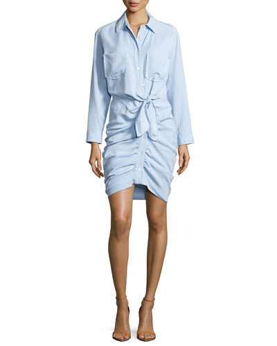 Sierra Ruched Chambray Mini Dress, Light Blue