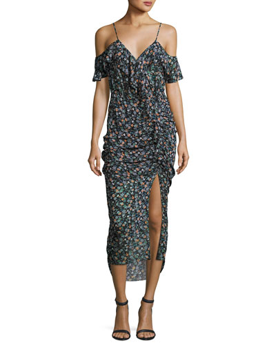 Ruched Floral Silk Cold-Shoulder Midi Dress, Black