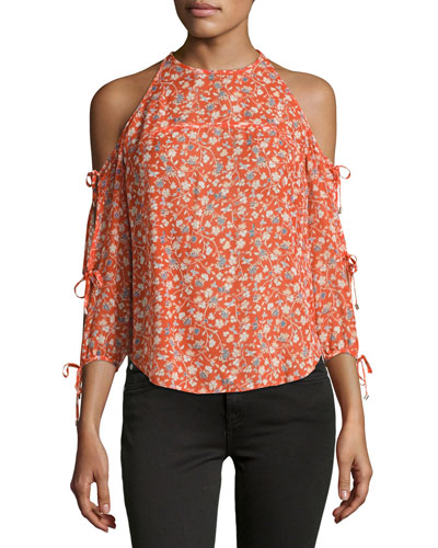 Flynn Cold-Shoulder Floral Silk Blouse, Red