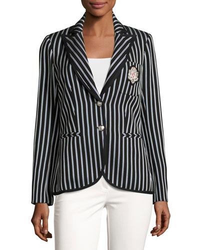 Spirit Striped Pique Blazer, Black/Blue