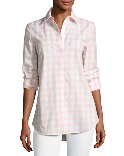 Brody Coastal Check Button-Down Blouse, Multi