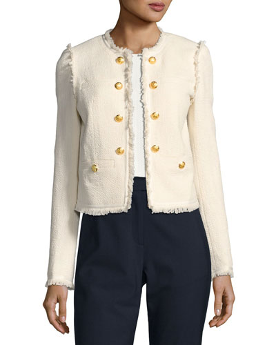 Betsy Lace-Back Tweed Jacket, White