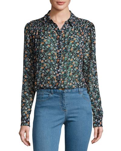 Dazed Long-Sleeve Floral Silk Blouse, Black