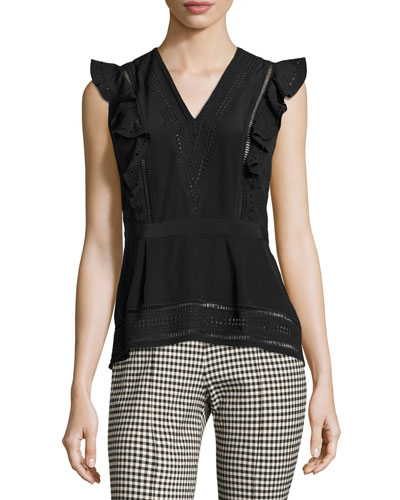 Brooke Sleeveless Embroidered Top, Black