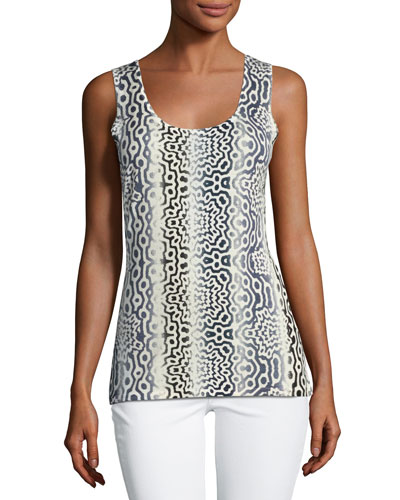 Superfine Sunburst Silk-Blend Tank