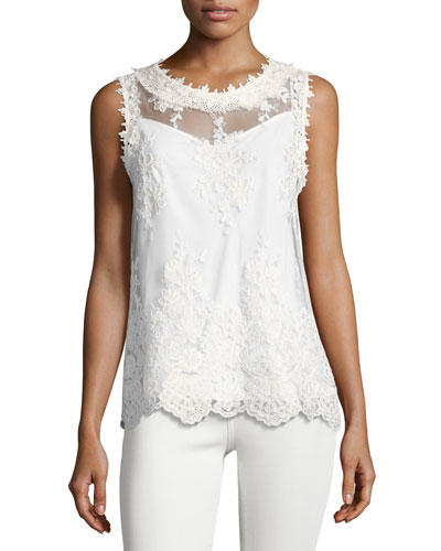Tula Sleeveless Lace Blouse, White