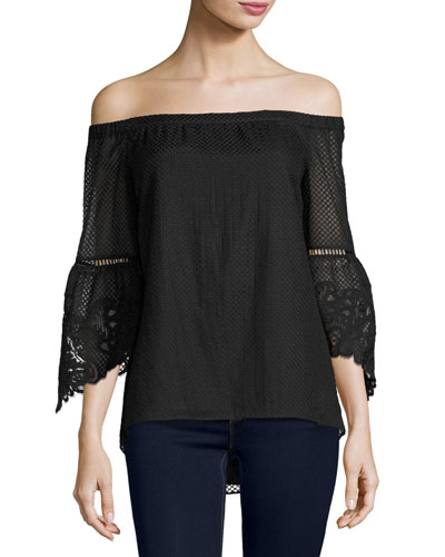 Riley Off-the-Shoulder Textured Silk Blouse