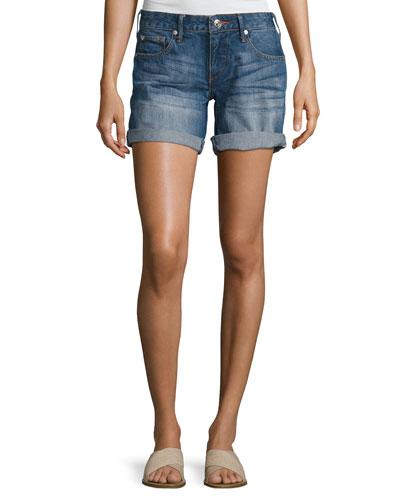 Emma Cuffed Bermuda Shorts, Blue Fest (Indigo)