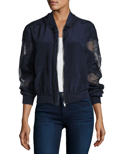 Antonella Silk Bomber Jacket w/ Lacy Sleeves