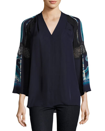 Sondra 3/4-Sleeve Lace-Trim Silk Blouse, Blue