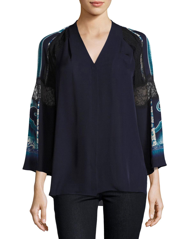 Sondra 3/4-Sleeve Lace-Trim Silk Blouse, Blue