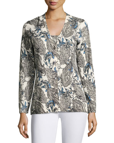 Superfine Lily Paisley V-Neck Cardigan