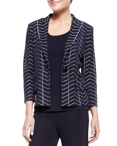 Spider Web One-Button Jacket, Petite