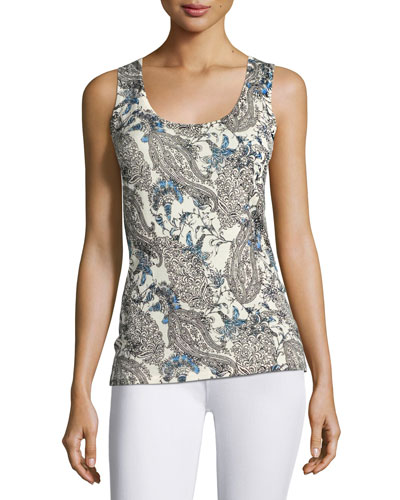 Superfine Lily Paisley Silk-Blend Tank