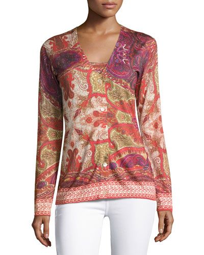 Superfine Medallion V-Neck Cardigan