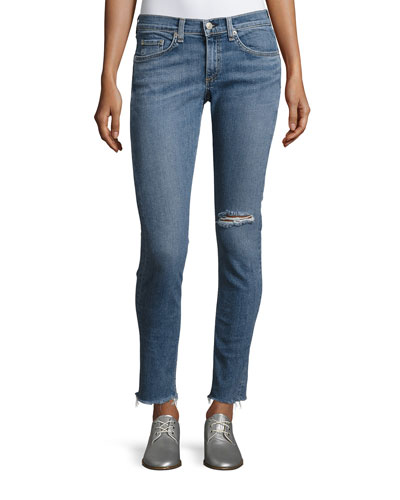 Cropped Skinny Jeans with Released Hem, Midland