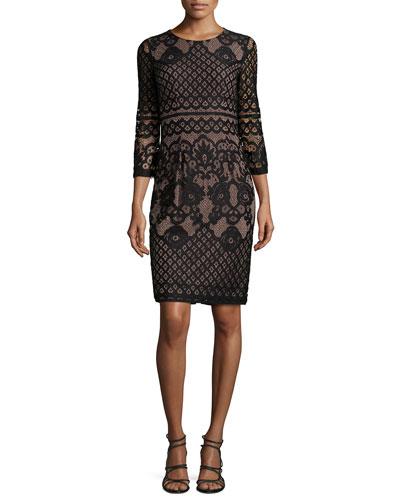 3/4-Sleeve Lace Cocktail Dress, Black