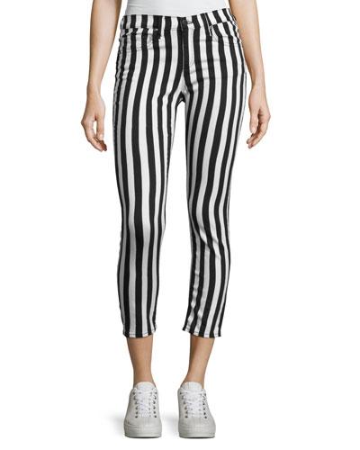 Benton Bengal Stripe Capri Jeans, Black/White