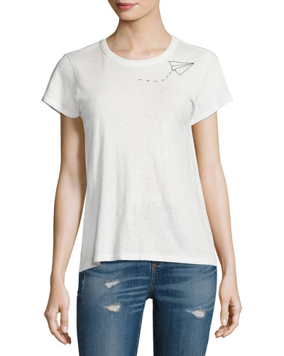 Embroidered Slim Crew Tee, Blanc/White