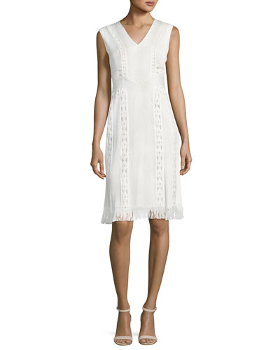 Amani Sleeveless Fringe-Hem Crepe Dress, White