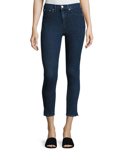 10 Inch Skinny Capri Jeans with Slit, Clean Dark Paz