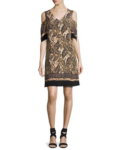 Natalia Cold-Shoulder Silk Shift Dress, Multi
