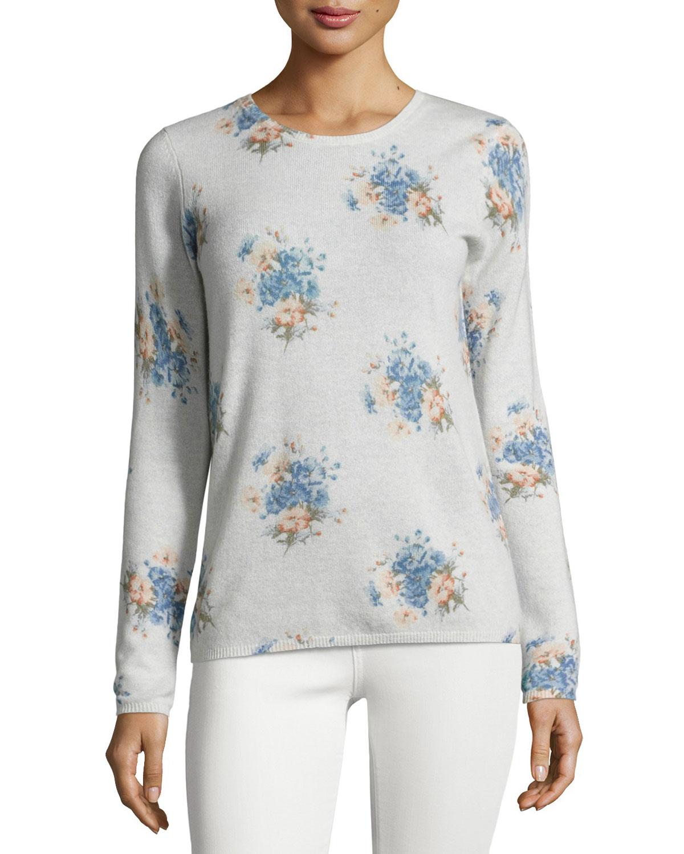Feronia Cashmere Floral-Print Sweater, Gray