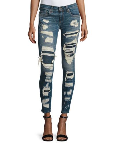 Dre Distressed & Repaired Mid-Rise Skinny Jeans, Ada Brigade
