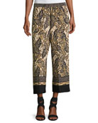 Sutton Wide-Leg Silk Pants, Multi