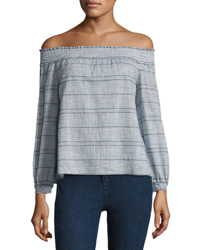 Drew Striped Off-the-Shoulder Top, Blue/White