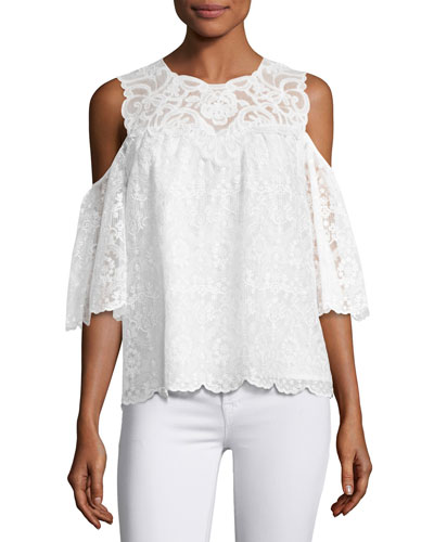 Klarissa Cold-Shoulder Lacy Silk Blouse, White