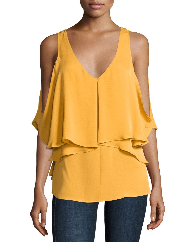Ziva Cold-Shoulder Silk Blouse, Amber