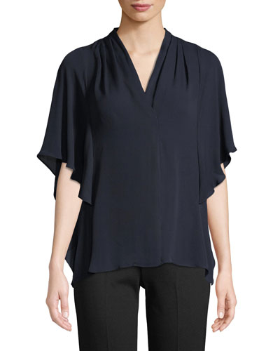 Carin Ruffled-Sleeve Silk Blouse, Black