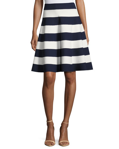 Striped Flared Circle Skirt
