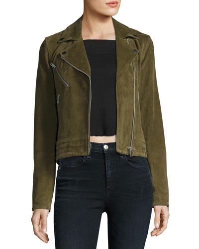 Mercer Suede Moto Jacket, Dark Olive