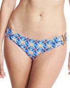 Elba Mosaic-Print Bandeau Bikini Swim Bottom, Multicolor