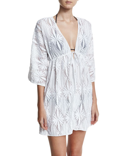 Ava Floral Crochet Coverup Dress, White