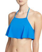 Italian Solid Halter Swim Top, Blue