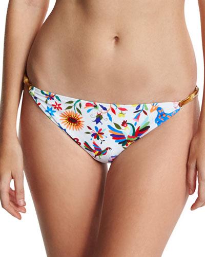 Positano Italian Folkloric Floral-Print Swim Bottom, Multicolor