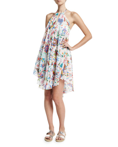 Italian Folkloric Tahiti Floral-Print Halter Coverup Dress, Multicolor