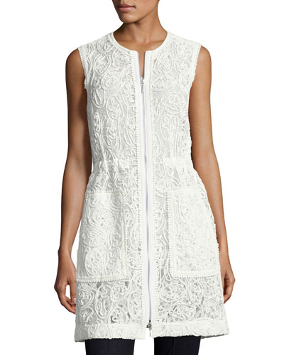 Chloe Zip-Front Lace Vest, White