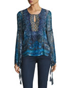 Avan Long-Sleeve Lace-Trim Chiffon Blouse, Blue