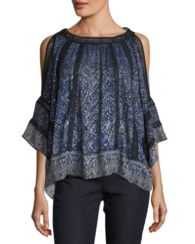 Mika Cold-Shoulder Floral Silk-Blend Blouse, Medium Blue