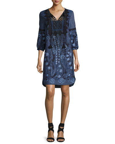 Gale Lace-Trim Embroidered Chambray Dress