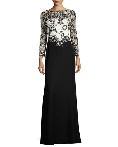 Two-Tone Lace & Crepe Gown, Black