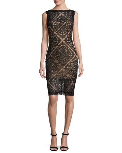 Sleeveless Lace Cocktail Dress, Black/Nude