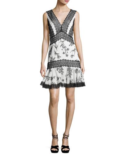 Sleeveless Lace-Trim Fit & Flare Dress