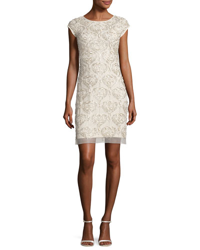 Cap-Sleeve Beaded Damask Cocktail Dress, Neutral