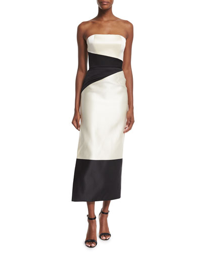 Strapless Colorblock Column Midi Gown, Ivory/Black