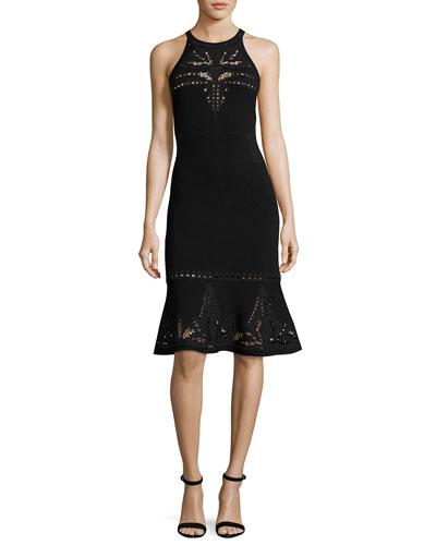 Lauren Sleeveless Lace-Trim Sweater Dress